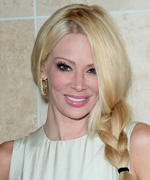 Jenna Jameson Curly Casual Updo Braided Hairstyle - Light Blonde (Golden) Hair Color