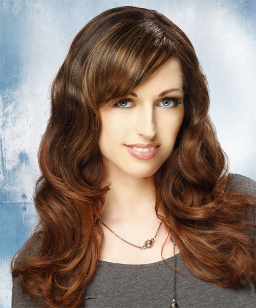 Long Wavy Casual Hairstyle with Side Swept Bangs - Dark Brunette (Auburn) Hair Color