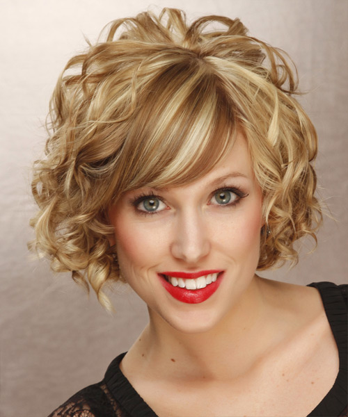 Short Curly Hairstyle with warm blonde hair