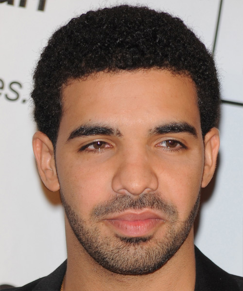 Drake Short Curly Afro Hairstyle - Black