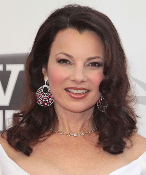 Fran Drescher Long Wavy Casual Hairstyle - Dark Brunette Hair Color