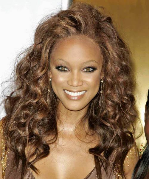 Amazing Tyra Banks Long Curly Formal Hairstyle Thehairstyler Com Short Hairstyles Gunalazisus