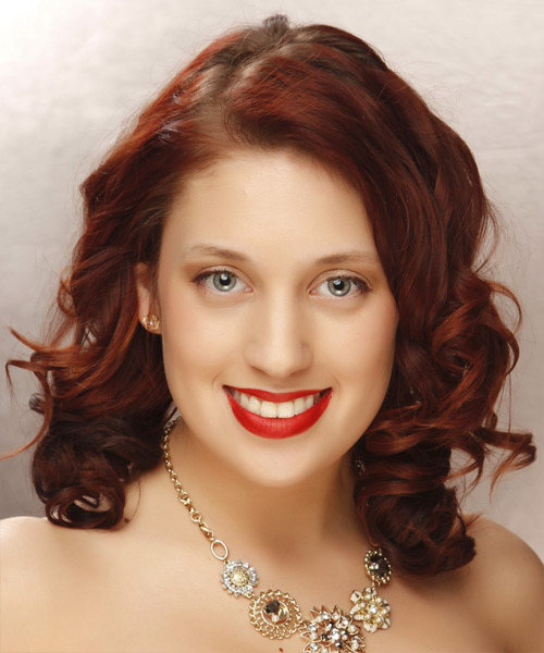 Long Curly Formal Hairstyle - Dark Red Hair Color