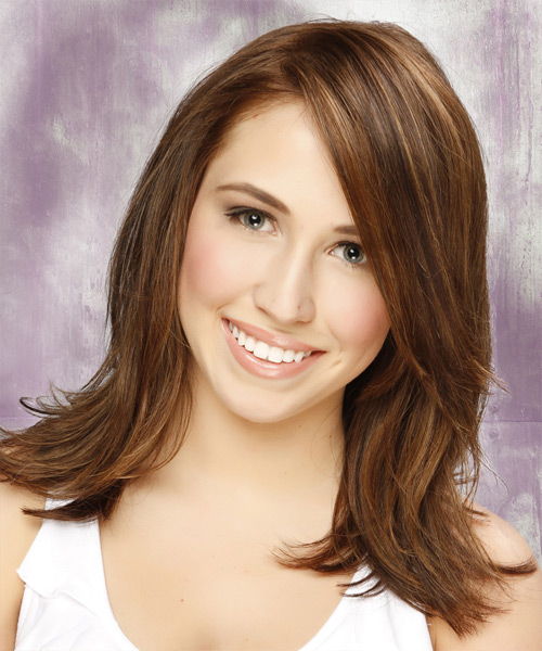 Medium Straight Casual Hairstyle - Medium Brunette (Chestnut)