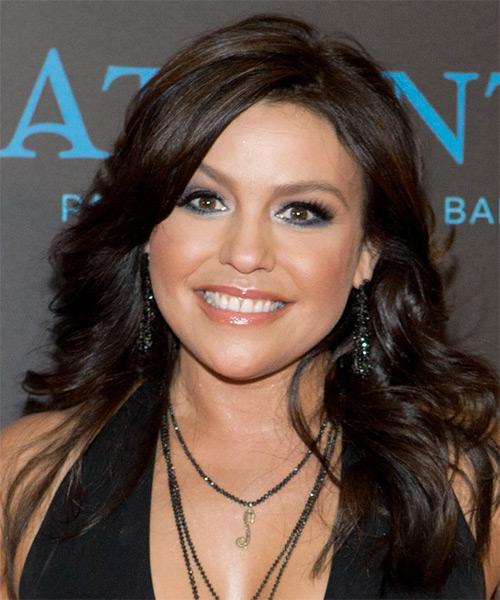 Rachael Ray Long Wavy Formal Hairstyle - Dark Brunette Hair Color