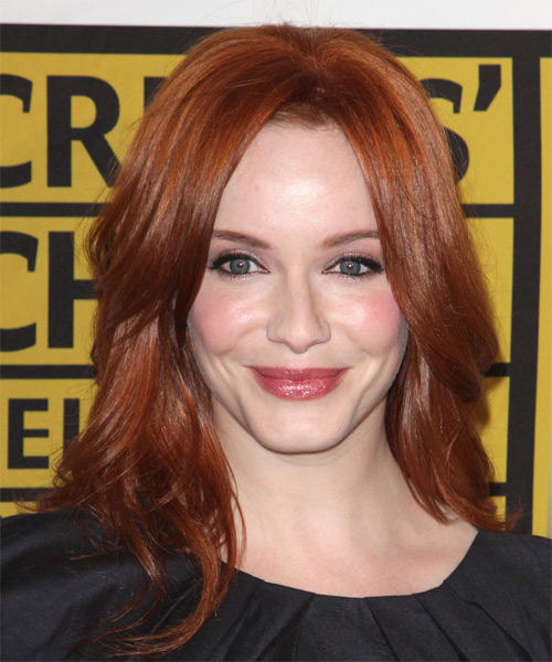 Christina Hendricks Long Straight Casual Hairstyle - Medium Red (Ginger) Hair Color