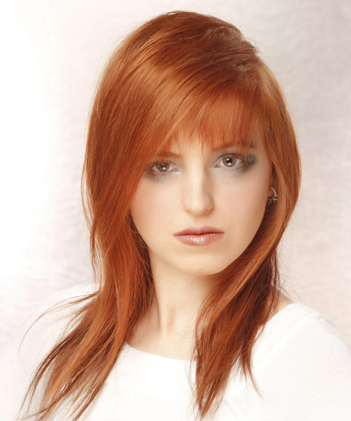 Long Straight Casual Hairstyle - Light Red Hair Color