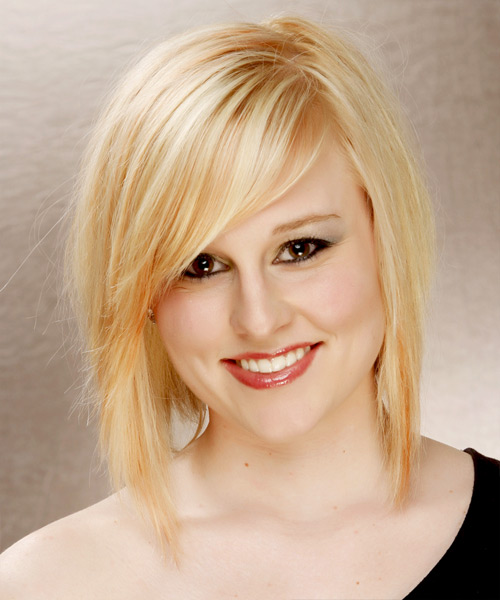 Medium Straight Formal Hairstyle with Side Swept Bangs - Light Blonde (Honey) Hair Color