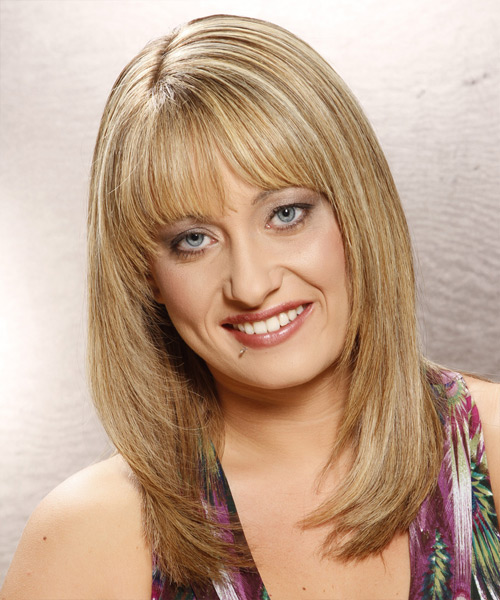 Long Straight Casual Hairstyle with Blunt Cut Bangs - Medium Blonde (Golden) Hair Color
