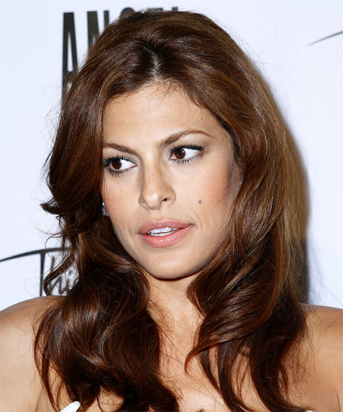 Eva Mendes Long Wavy Casual Hairstyle - Medium Brunette (Auburn) Hair Color