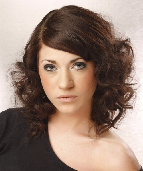 Medium Curly Formal Hairstyle - Dark Brunette