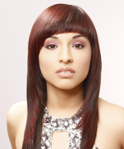 Long Straight Alternative Hairstyle with Blunt Cut Bangs - Medium Red Hair Color