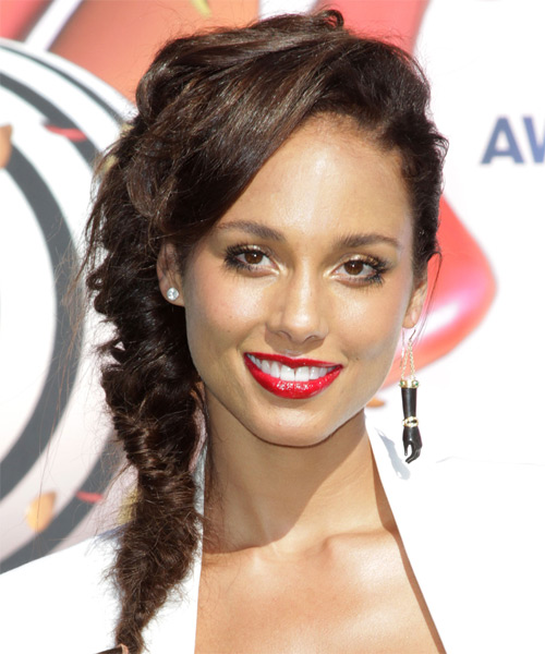 Alicia Keys Casual Curly Updo Braided Hairstyle - Medium Brunette (Chocolate)
