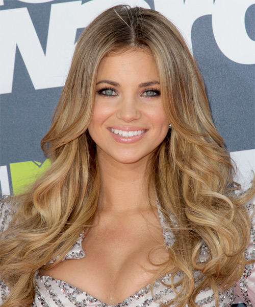 Amber Lancaster Long Wavy Casual Hairstyle - Light Brunette (Caramel) Hair Color
