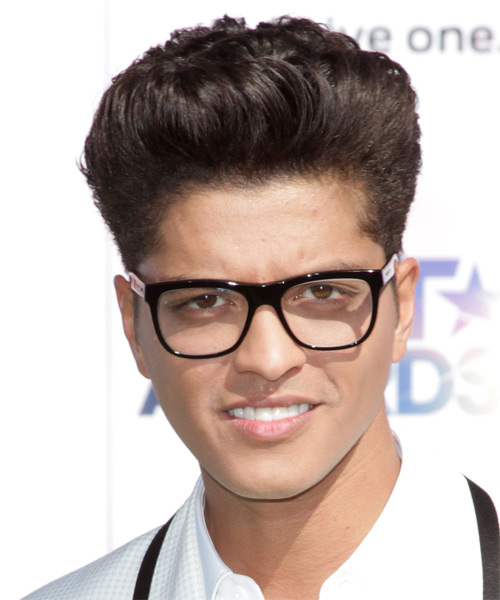 Bruno Mars Short Straight Hairstyle - Dark Brunette