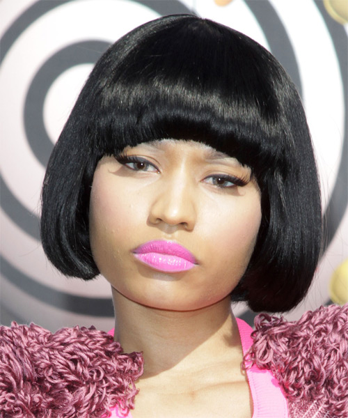 Nicki Minaj Short Straight Black Bob Hairstyle with Blunt Cut Bangs