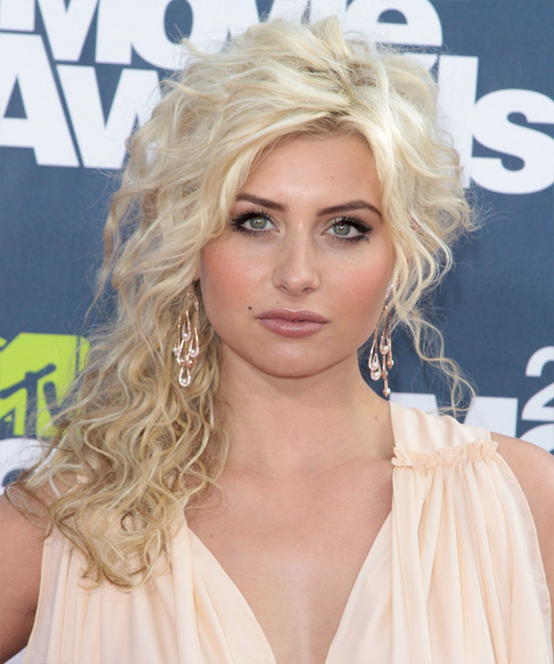 Alyson Michalka Long Curly Hairstyle - Light Blonde (Platinum)