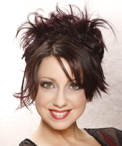Casual Straight Updo Hairstyle - Dark Brunette (Plum)