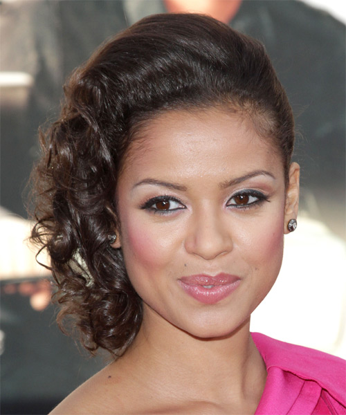 Gugu Mbatha-Raw Updo Medium Curly Formal Updo Hairstyle - Dark Brunette Hair Color