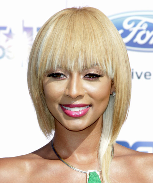 Keri Hilson Medium Straight Casual Bob Hairstyle - Light Blonde (Golden) Hair Color