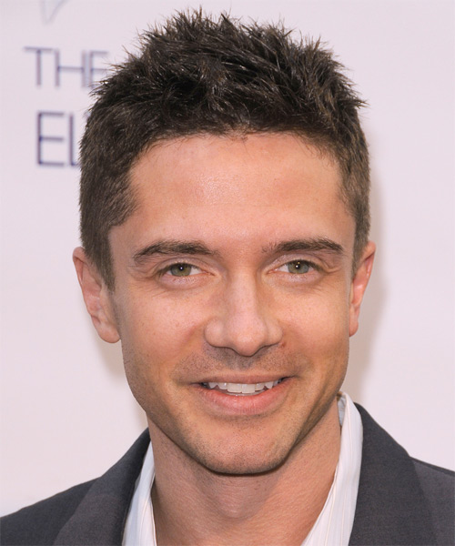 Topher Grace Short Straight Hairstyle - Medium Brunette (Ash)