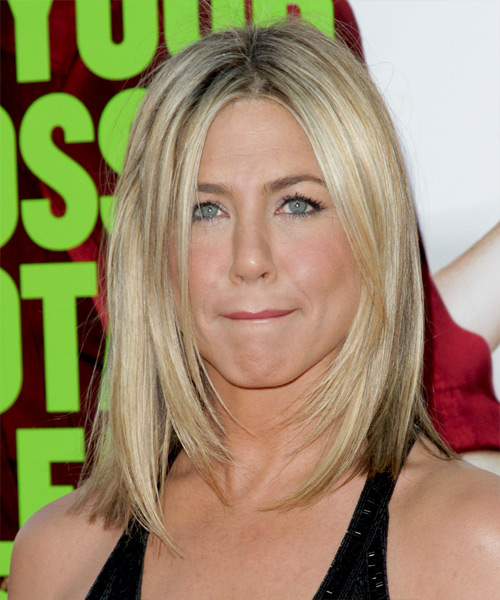 Jennifer Aniston Medium Straight Casual Hairstyle - Light Blonde (Champagne) Hair Color