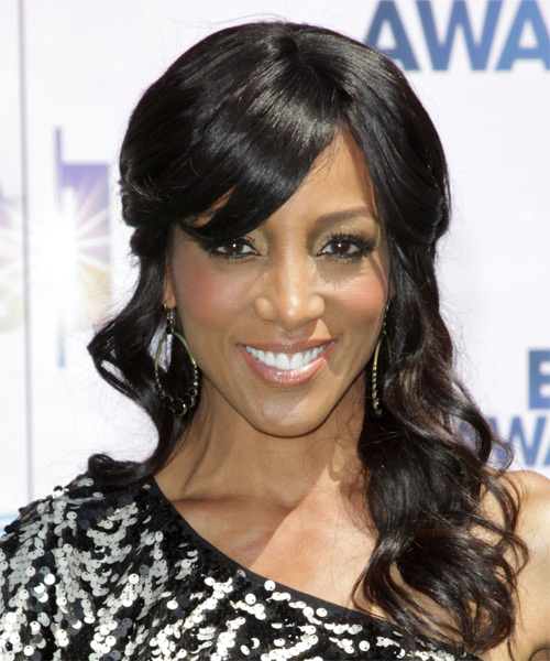 Shaun Robinson Curly Formal Half Up Hairstyle with Blunt Cut Bangs - Black Hair Color