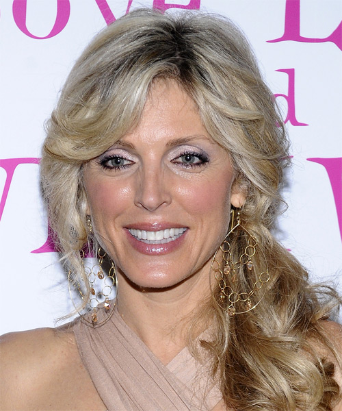 Marla Maples Curly Casual Half Up Hairstyle - Dark Blonde (Champagne) Hair Color