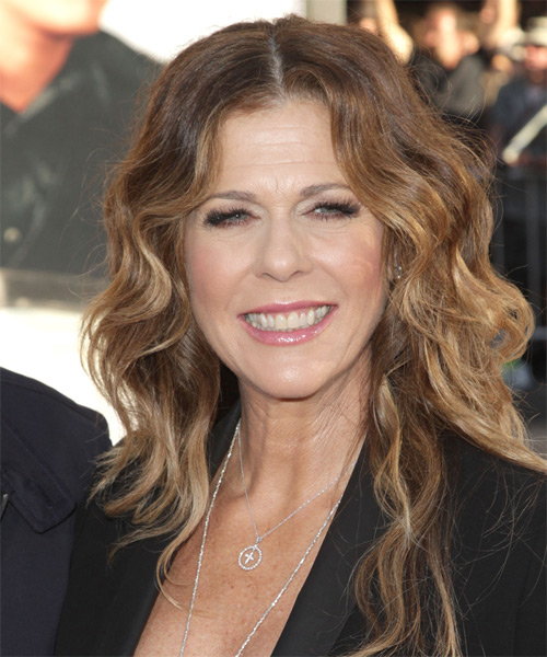 Rita Wilson Long Wavy Hairstyle - Medium Brunette (Caramel)