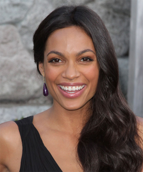 Rosario Dawson Long Wavy Casual Hairstyle - Dark Brunette Hair Color