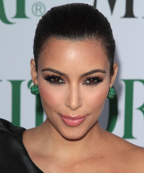 Kim Kardashian Curly Formal Updo Hairstyle - Black Hair Color