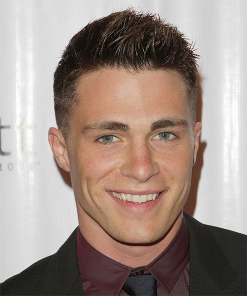 Colton Haynes Short Straight Hairstyle - Dark Brunette (Ash)