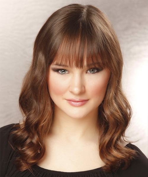 Long Wavy Casual  with Blunt Cut Bangs - Light Brunette (Chocolate)