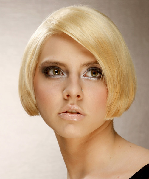 Short Straight Formal Bob Hairstyle - Medium Blonde (Golden) Hair Color