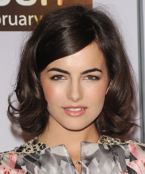 Camilla Belle Medium Wavy Formal Hairstyle with Side Swept Bangs - Dark Brunette Hair Color