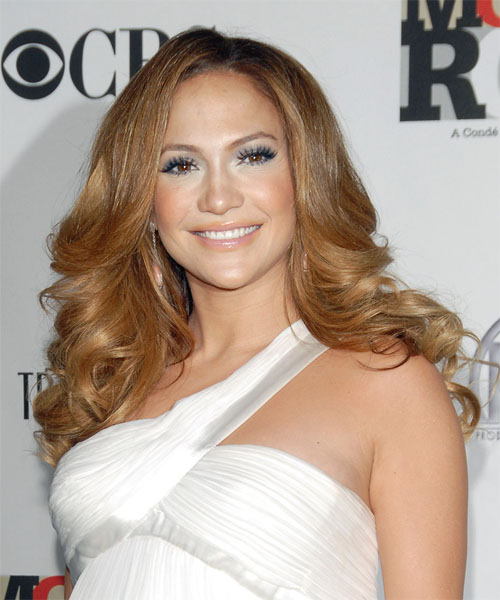 Jennifer Lopez Long Wavy Formal Hairstyle - Dark Blonde (Caramel) Hair Color