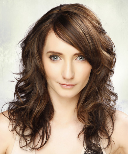 Long Wavy Casual  with Side Swept Bangs - Dark Brunette (Chestnut)