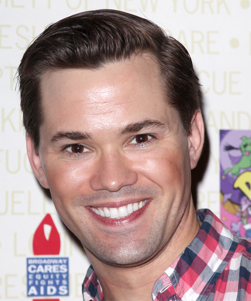 Andrew Rannells  Short Straight Formal Hairstyle - Dark Brunette (Chocolate) Hair Color