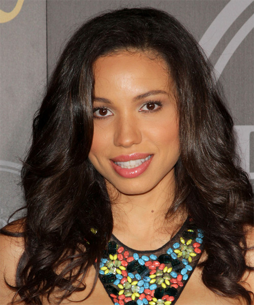 Jurnee Smollett Long Wavy Casual Hairstyle - Dark Brunette Hair Color