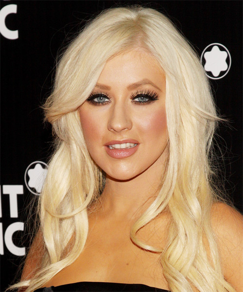 Chrisitna Aguilera Long Wavy Hairstyle - Light Blonde (Platinum)