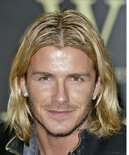 David Beckham Long Wavy Hairstyle