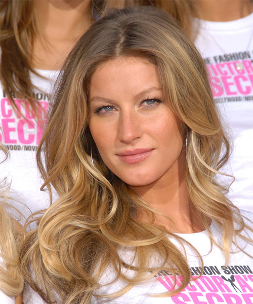 Gisele Bundchen Long Wavy Casual Hairstyle - Dark Blonde Hair Color