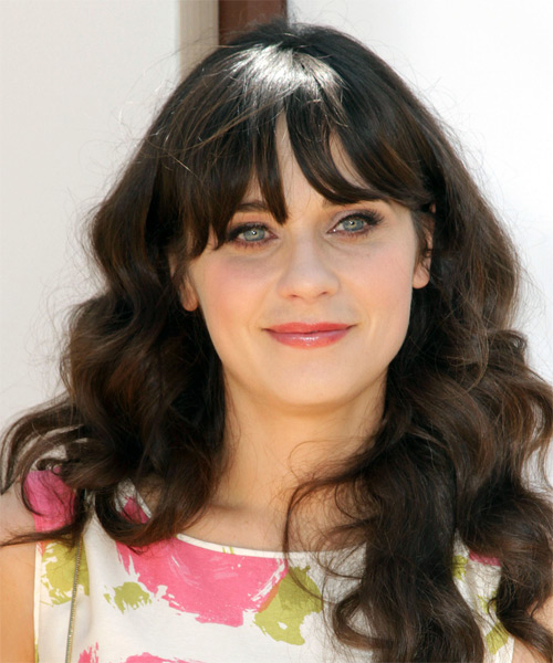 Zooey Deschanel Long Wavy Casual Hairstyle with Layered Bangs - Medium Brunette Hair Color