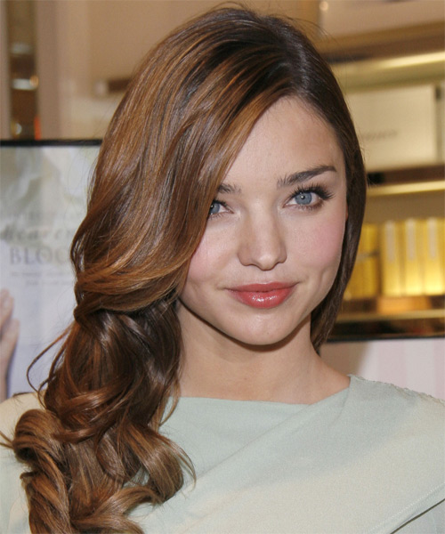Miranda Kerr Long Wavy Formal Hairstyle - Medium Brunette Hair Color