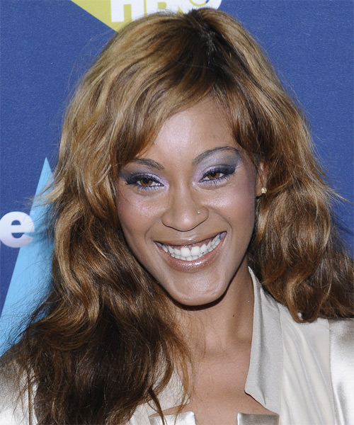 Shontelle Long Wavy Casual Hairstyle with Side Swept Bangs - Medium Brunette Hair Color