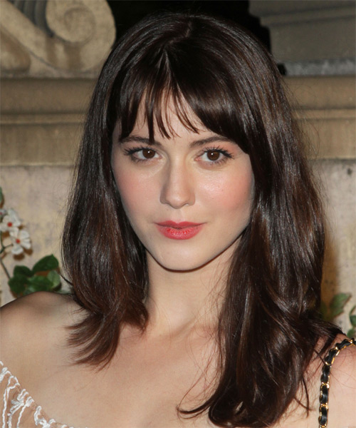 Mary Elizabeth Winstead Long Straight Casual Hairstyle with Layered Bangs - Dark Brunette (Mocha) Hair Color