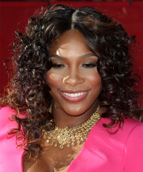 Serena Williams Medium Curly Casual Hairstyle - Black Hair Color