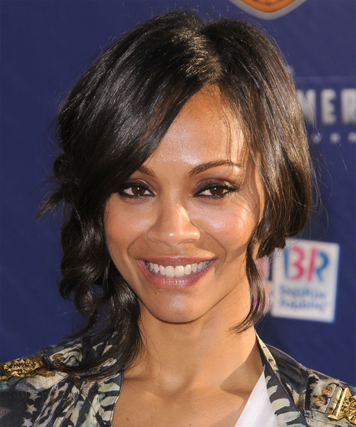 Zoe Saldana Updo Medium Curly Casual  Half Up with Side Swept Bangs - Black