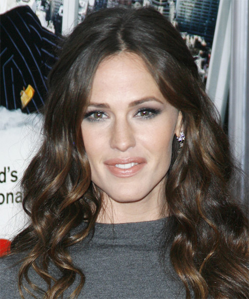 Jennifer Garner Long Wavy Casual Hairstyle - Dark Brunette Hair Color