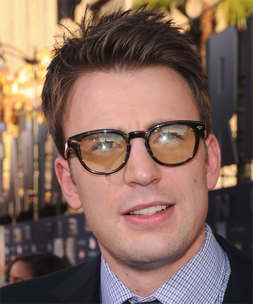 Chris Evans Short Straight Casual Hairstyle - Medium Brunette Hair Color